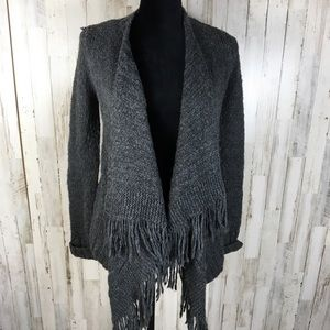 Hollister Wool Blend Cardigan Waterfall Fringe XS